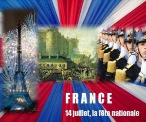 puzzel 14 juli de Franse nationale feestdag ter herdenking van de bestorming van de Bastille op 14 juli 1789