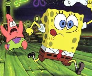 puzzel SpongeBob SquarePants en zijn vriend Patrick Star lopen