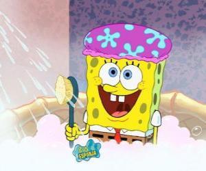 puzzel SpongeBob in de douche