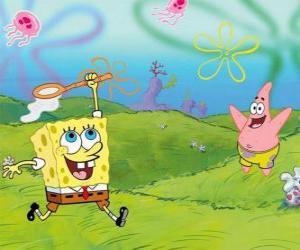 puzzel SpongeBob en Patrick Star probeert te kwallen vangen in Bikini Bottom
