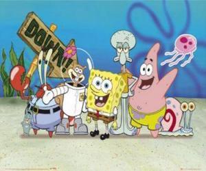 puzzel SpongeBob en enkele van zijn vrienden
