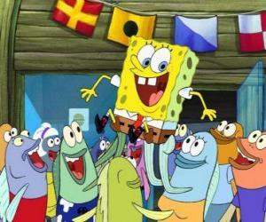 puzzel SpongeBob begroet door de inwoners van Bikini Bottom
