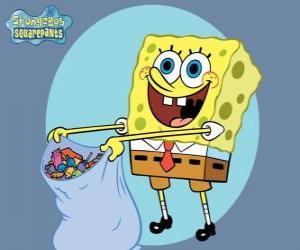puzzel SpongeBob met een zak snoep