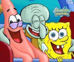 puzzel SpongeBob SquarePants en zijn vrienden Patrick Ster en Octo Tentakel