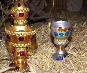 puzzel Aanbod van de drie Koningen, goud, wierook en mirre aan het Kind Jezus