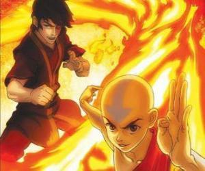 puzzel Aang en Zuko gevechten
