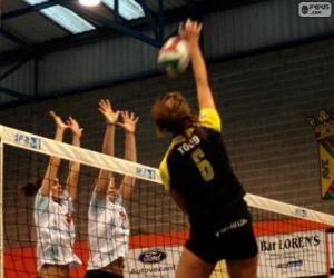 puzzel Aanval op het netwerk en de verdediging proberen te blokkeren in een volleybal wedstrijd