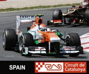 puzzel Adrian Sutil - Force India - Circuit de Catalunya, Barcelona, 2013