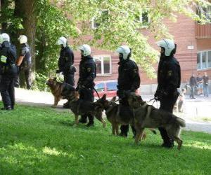 puzzel Agenten van de oproerpolitie met honden