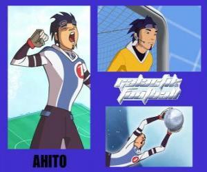 puzzel Ahito is de doelman van de voetbalteam Galactic Snow Kids met nummer 1