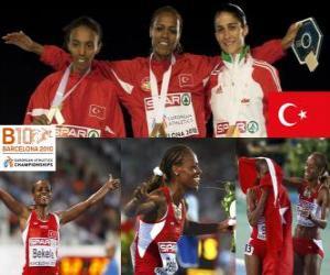 puzzel Alemitu 5000 m kampioen Bekele, Elvan Abeylegesse en Sara Moreira (2e en 3e) van het Europees Kampioenschap Atletiek 2010 in Barcelona