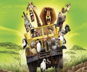 puzzel Alex de Leeuw het besturen van een jeep met zijn vrienden Gloria, Melman, Marty en andere protagonisten van de avonturen
