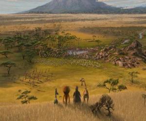 puzzel Alex, Marty, Melman, Gloria merkte de immense vlaktes van Afrika