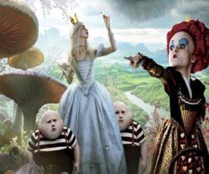 puzzel Alice, samen met de tweeling en de Red Queen