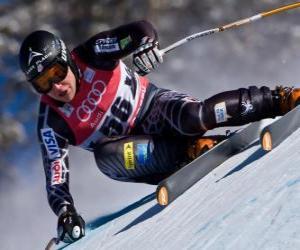 puzzel Alpine skiër oefenen van een afdaling
