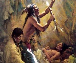 puzzel Amerikaanse Indianen in een traditioneel ritueel, een beroep op de geesten