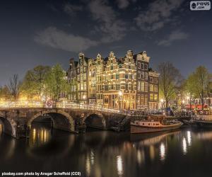 puzzel Amsterdam bij nacht, Nederland