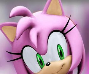 puzzel Amy Rose is een rose egel met groene ogen, is waanzinnig verliefd op Sonic