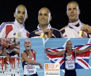 puzzel Andy Turner 110m horden kampioen, Garfield Darien en Daniel Kiss (2e en 3e) van het Europees Kampioenschap Atletiek 2010 in Barcelona