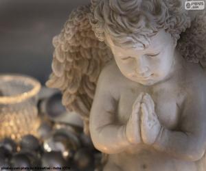 puzzel Angel, de kaars en de kerst ballen