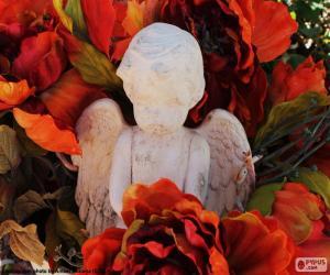 puzzel Angel onder bloemen