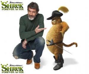 puzzel Antonio Banderas geeft de stem van Puss in Boots in de nieuwste film Shrek Shrek nog lang en gelukkig of After Forever