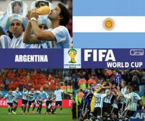 puzzel Argentinië viert zijn classificatie, Brazilië 2014
