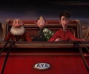 puzzel Arthur Christmas, Grand-Santa en Heggenrank op de oude slee klaar om te verdelen de laatste gift