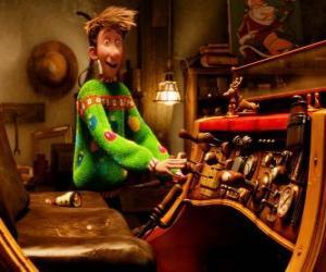 puzzel Arthur Christmas kijken naar de oude slee