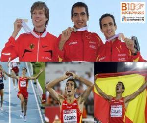 puzzel Arturo Casado kampioen 1500 m, en Carsten Schlangen Manuel Olmedo (2e en 3e) van het Europees Kampioenschap Atletiek 2010 in Barcelona