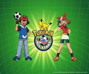 puzzel Ash, mei en Pokemon