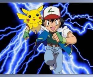 puzzel Ash, Pokemon trainer met zijn eerste Pokemon Pikachu