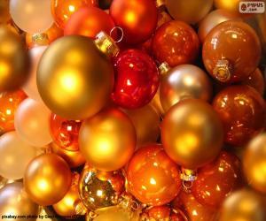 puzzel Assortiment van kerstballen