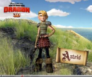 puzzel Astrid Hofferson, een jonge vrouwelijke viking verrassend, energiek en concurrerende