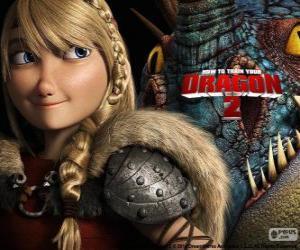puzzel Astrid met haar gevleugelde draak Stormfly, Hoe tem je een Draak 2