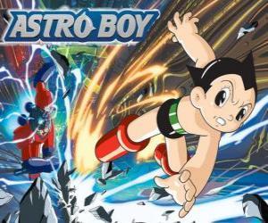 puzzel Astro vliegen dankzij zijn superkrachten, zijn benen omgevormd tot raket jets