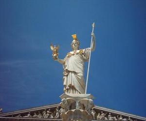puzzel Athena, de Griekse mythologie de godin van de strategische oorlogsvoering, wijsheid en heroïsche streven
