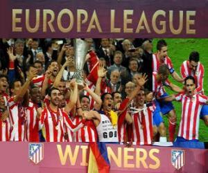 puzzel Atlético Madrid, kampioen van de UEFA Europa League 2011-2012