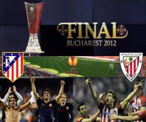 puzzel Atlético Madrid vs Athletic de Bilbao. Europa League 2011-2012 finale in het nationale stadion in Boekarest, Roemenië