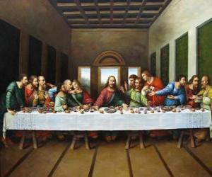 puzzel Avondmaal of Laatste Avondmaal - Jezus verzamelde met zijn apostelen op de avond van Witte Donderdag
