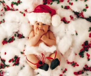 puzzel Baby met hoed van Santa Claus
