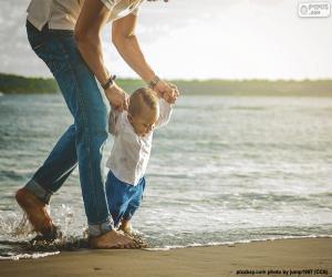 puzzel Baby op de kust
