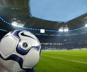 puzzel Bal in een voetbalstadion