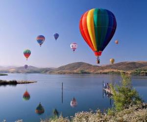 puzzel Ballon in het landschap
