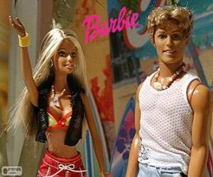 puzzel Barbie en Ken in de zomer