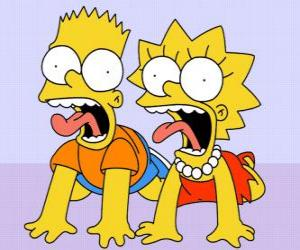 puzzel Bart en Lisa schreeuwen
