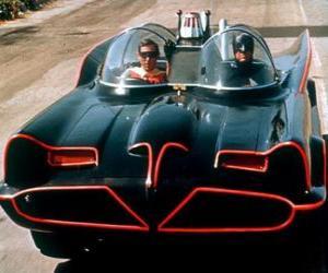 puzzel Batman en Robin in zijn Batmobiel