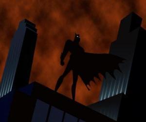 puzzel Batman kijken naar de stad vanaf het dak van een gebouw in Gotham City