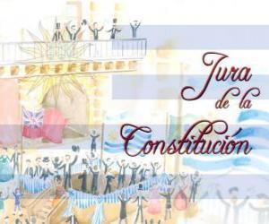 puzzel Beëdiging van de Grondwet van Uruguay. Elk jaar in juli 18 wordt gevierd de eed van de eerste nationale grondwet van 1830