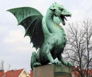 puzzel Beeldhouwkunst gevleugelde draak